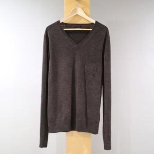 All Saints V Neck Sweater Mens Size XXL Brown Wool